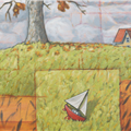 detail: sailboat and house -